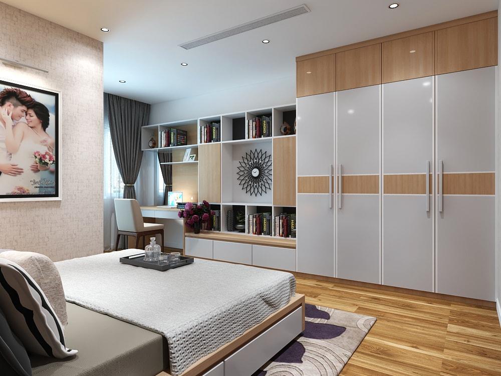 Thiết kế phòng ngủ diện tích rộng với giường ngủ, tủ áo, bàn trang điểm và giá sách
