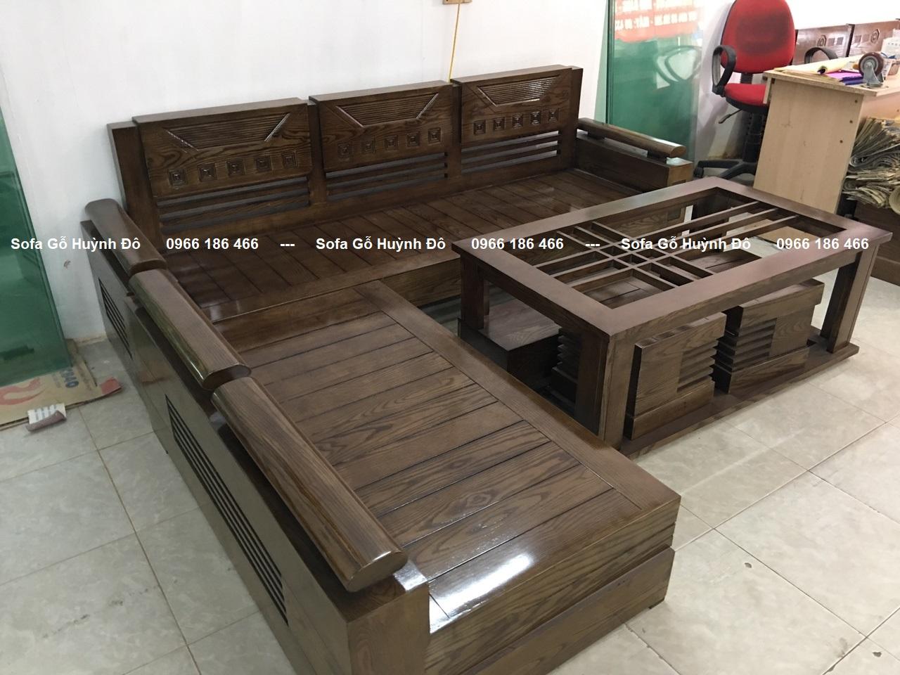Mẫu bàn ghế phòng khách gỗ sồi kiểu dáng chữ L, đơn giản, đẹp