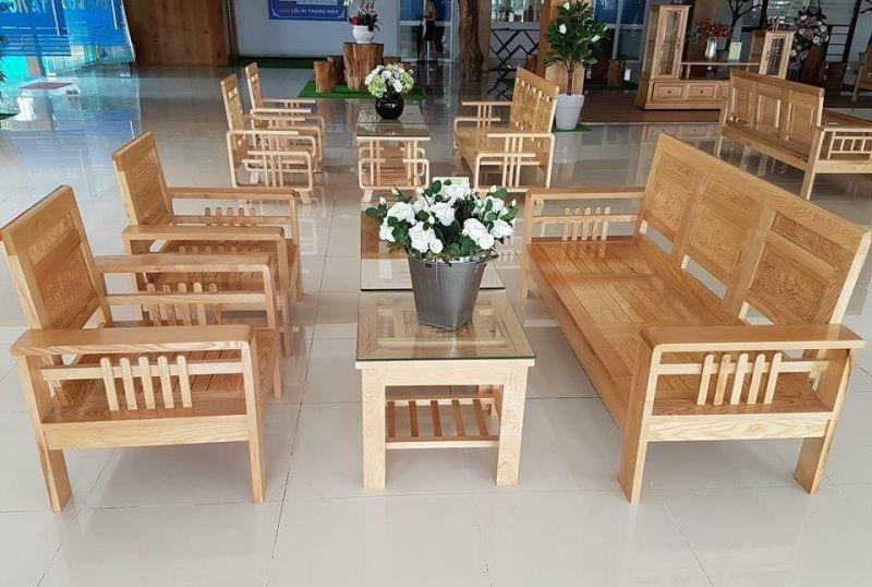 Bộ bàn ghế gỗ phòng khách giá rẻ dạng đối, tiện nghi, hiện đại