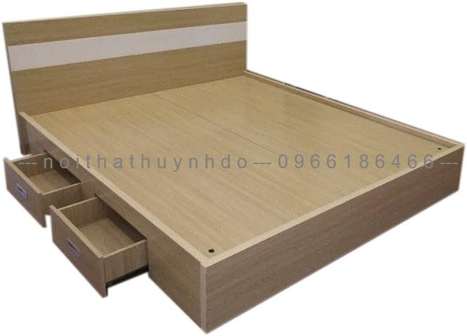 Mẫu giường ngủ 2 ngăn kéo gỗ công nghiệp đẹp