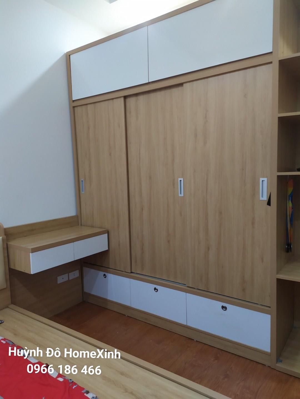 Tủ áo 3 cánh trượt với thiết kế đầy đủ tiện nghi